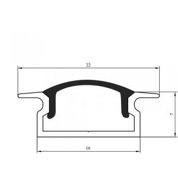 Светодиодный профиль врезной, алюминиевый, анодированный RC-2207