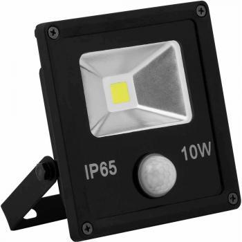 Прожектор c встроенным датчиком квадратный, 1COB*10W, 230V черный (IP65), LL-860
