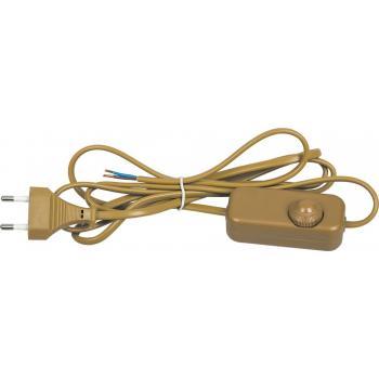 Сетевой шнур с диммером 230V 1,5+0,5м, золото, DM103-200W