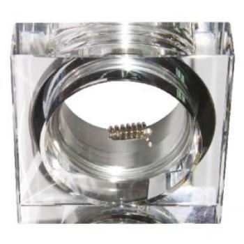 Светильник потолочный, MR16 G5.3 квадрат с прозрачным стеклом, хром, с лампой, DL256