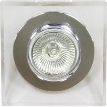 Светильник потолочный, JCDR G5.3 с прозрачным стеклом, хром, с лампой, DL8214