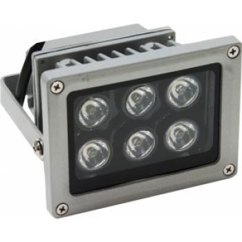 Прожектор квадратный, 6LED/1W-белый 230V серый (IP65) 114*133*88мм LL-119