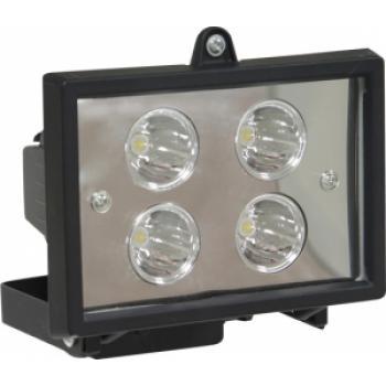 Прожектор квадратный, 4LED/1W-белый 230V черный (IP65) 125*90*90мм LL-125