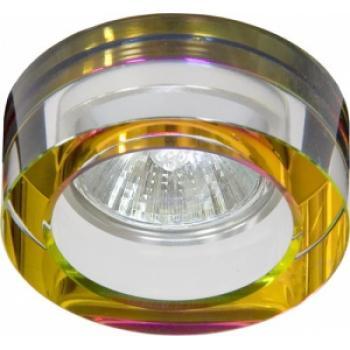 Светильник потолочный, MR11 G4 круг с многоцветным стеклом, хром, DL254R