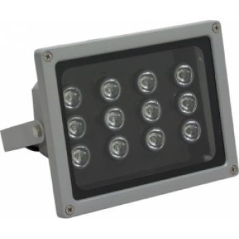 Прожектор квадратный, 12LED/1W-6500K 230V серый (IP65), LL-141