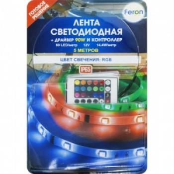 Лента светодиодная, 60SMD(5050)/m 14.4W/m 12V IP65 5m красный-зеленый-синий, LS607