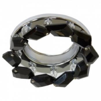 Светильник потолочный, JCDR G5.3 с черным стеклом, хром, с лампой, CD4127