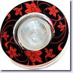 Светильник потолочный, JCDR G5.3 черный фон - красный рисунок, с лампой, CD2035
