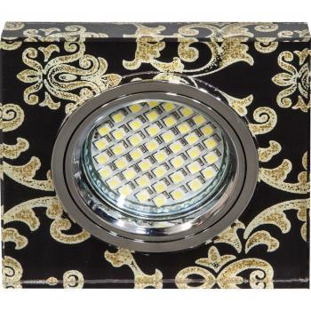 Светильник встраиваемый 15LED*2835 SMD , MR16 50W G5.3, черный-зеленый, серебро, 8888-2
