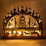 Деревянная световая фигура, 7 ламп С6, цвет свечения: теплый белый, 45*6*35 см, шнур 1,5 м , IP20, LT089