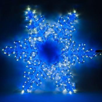 Световая фигура 230V, дюралайт 12 м 24 LED/м (синий+белый), шнур 1,6м IP44, 80*80 см, LT064