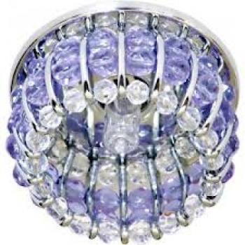 Светильник потолочный, JCD9 G9 с прозрачным и сиреневым стеклом, хром, с лампой, CD2119