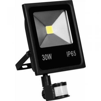 Прожектор светодиодный с датчиком движения прямоугольный 1COB 20W 6400K 230V черный IP44, LL-511