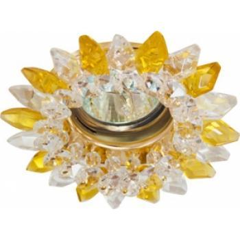 Светильник потолочный, MR16 G5.3 с прозрачным-желтым стеклом, золото, с лампой, CD2315