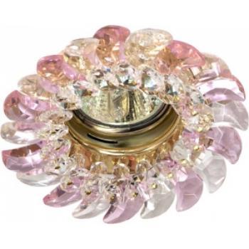 Светильник потолочный, MR16 G5.3 с прозрачным-розовым стеклом, золото, с лампой, CD2316