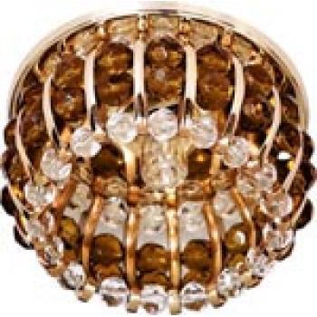 Светильник потолочный, JCD9 G9 с прозрачным и коричневым стеклом, золото, с лампой, CD2119