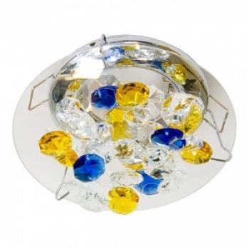 Светильник потолочный, JCDR G5.3 желтый-голубой-прозрачный, золото , с лампой, CD4204