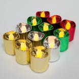 """Светильник переносной """"свеча"""" на батарейках CR2032, 12 шт*1LED (3 шт красных; 3 шт зеленых; 3 шт золотых; 3 шт серебряных) Цвет свечения: теплый белый, FL078"""