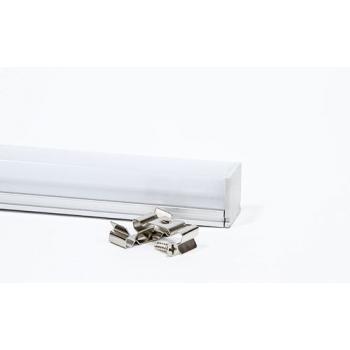 """Профиль алюминиевый """"накладной"""" с заглушками, c квадратной крышкой, серебро, CAB275"""