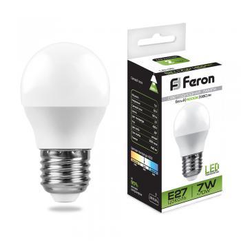 Лампа светодиодная, (7W) 230V E27 4000K, LB-95