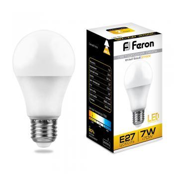 Лампа светодиодная, (7W) 230V E27 2700K, LB-91