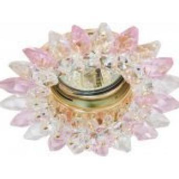 Светильник потолочный, MR16 G5.3 с прозрачным-розовым стеклом, золото, с лампой, CD2315
