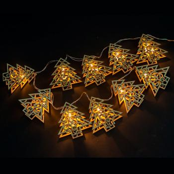 Гирлянда, 10 LED, цвет свечения: теплый белый, 10 подвесов, расстояние м/у LED: 10 см, размер подвеса: 8,5*2,5*9см, батарейки 3*AA, IP20, CL124
