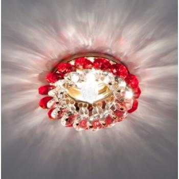 Светильник потолочный, JCDR11 G4.0 с краснымстеклом, золото, с лампой, CD4147