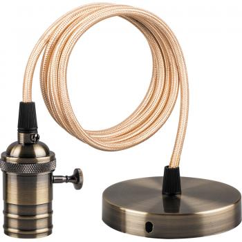 Патрон для ламп Feron LH129 со шнуром 1м 230V E27 черное золото
