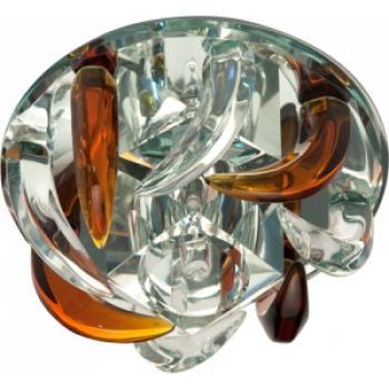 Светильник точечный потолочный, JC G4 с коричневым и прозрачным стеклом, зеркальный, с лампой, CD2531