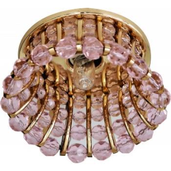 Светильник потолочный, JCD9 G9 с розовым стеклом, золото, с лампой, CD2120