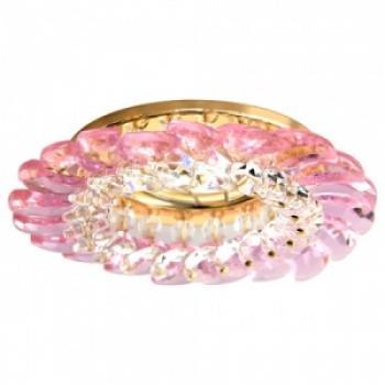 Светильник потолочный, MR16 G5.3 с прозрачным-розовым стеклом, золото, с лампой, CD2313