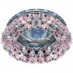 Светильник потолочный, JCDR G5.3 с розовым-прозрачным стеклом, хром, с лампой, CD4141