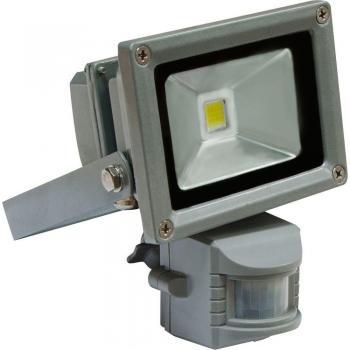 Прожектор c датчиком квадратный, 1LED/10W-белый 230V серый (IP44), LL-222