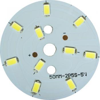 LB-1763, светодиодный модуль на алюм.плате, 7W 14LED SMD5730 385Lm 6400K D50mm