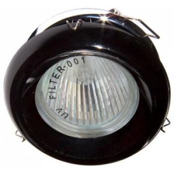 Светильник потолочный, JCDR G5.3 с черным стеклом, хром, с лампой, DL225-BK