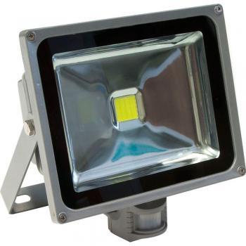 Прожектор c датчиком квадратный, 1LED/30W-белый 230V серый (IP44), LL-232