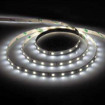 Лента светодиодная, 60SMD(3528)/m 4.8W/m 12V 5m натуральный белый, на белом основании , LS603