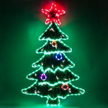 Световая фигура 230V, каркас - дюралайт 8м 24 LED/м (мультиколор), 9 стробов, внутри - хвоя с гирляндой 40LED (белый) + 10 стробов, шнур 1,5м IP44, 115*69 см, LT060