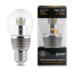 Лампа светодиодная Gauss LED Globe-dim Crystal Clear 7W E27 2700K диммируемая 1/10/100