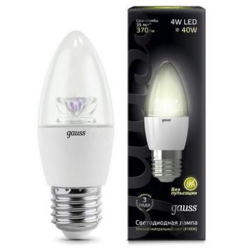 Лампа светодиодная Gauss LED Candle Crystal Clear E27 4W 2700К 1/10/50