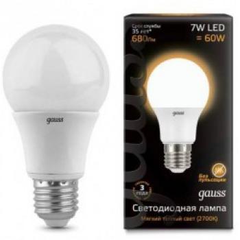 Лампа светодиодная Gauss LED A60 7W E27 2700K 1/10/100 акция