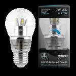 Лампа светодиодная Gauss LED Globe-dim Crystal Clear 7W E27 4100K диммируемая 1/10/100