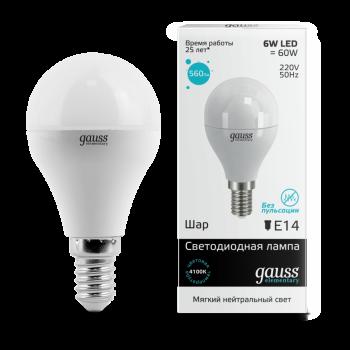 Лампа светодиодная Gauss LED Elementary Globe 6W E14 4100K 1/10/50