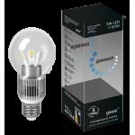 Лампа светодиодная Gauss LED шар для хрустальных люстр (прозрачный) 5W E27 4100K диммируемая (нейтральный свет)
