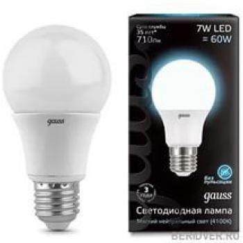 Лампа светодиодная Gauss LED A60 7W E27 4100K 1/10/100 акция