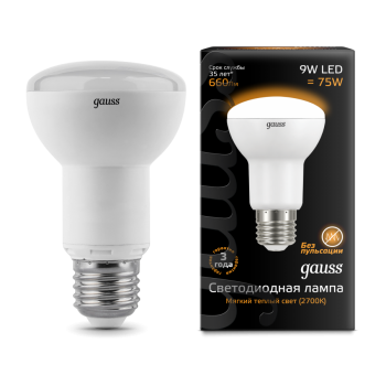 Лампа светодиодная Gauss LED Reflector R63 E27 9W 2700K 1/10/40