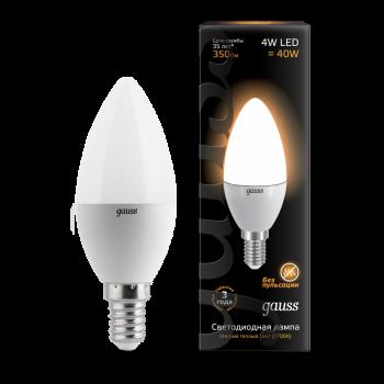 Лампа светодиодная Gauss LED Candle 4W E14 2700K 1/10/50