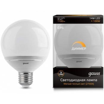 Лампа светодиодная Gauss LED G95-dim 14W E27 2700K диммируемая 1/10/40