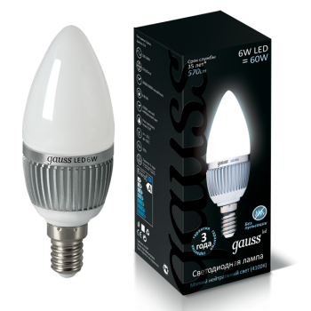 Лампа светодиодная Gauss LED Candle E14 6.5W 4100К 1/10/50